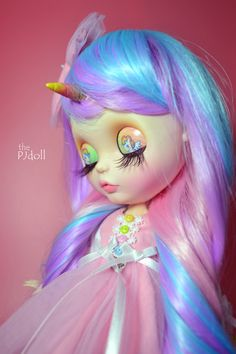 thePJdoll-reserved for Paula[ Miss Rainbow ! ] Custom Blythe Doll/Unicorn/OOAK, handmade Blythe custom/ブライス/rainbow color/art doll/wigs/