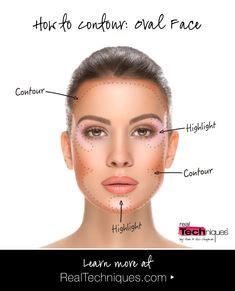 Oval-shaped face? Check out our contouring guide for our tips & tricks to achieve your best contoured look. #contour #RealTechniques