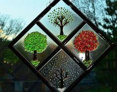 Four Season Diamond on Clear Glass