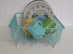 turquoise dish rack, a must have.