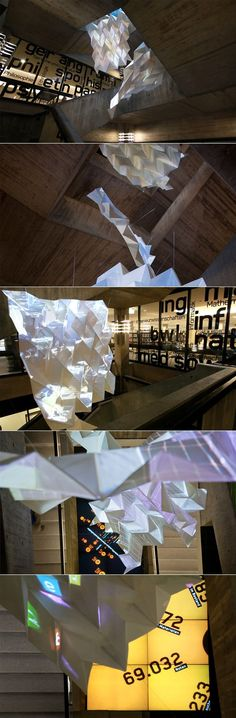 Installation: Video mapping + paper structures.