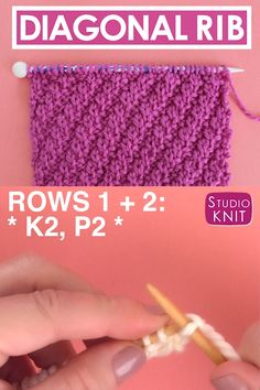 Stunning design that's perfect for beginning knitters. This simple Diagonal Rib knit stitch pattern is achieved with just an easy repeat of knits and purls. Check out FREE Knitting Pattern, Chart, Photos, and Video Tutorial by Studio Knit. Beginner Knitting Patterns, Knitting Basics, Easy Knitting Projects, Dishcloth Knitting Patterns, Knitting Stiches, Knitting Videos, Free Knitting, Knitting And Crocheting, Knit Stitches