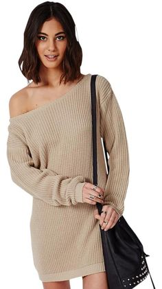 53ce0909f6 Missguided Beige Off Shoulder Knitted Sweater Above Knee Short Casual Dress  Size 4 (S)