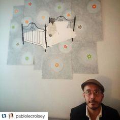 """#Repost @pablolecroisey  El nacimiento de """"La noche transluminosa"""" #art #art4sale #art4life #stars #sky #cuartopblico #contemporaryart #bear #bed #dream"""