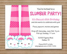 Slumber Party Invitation / Sleepover Party / Pajama Party / Movie Night - PRINTED / Printable PDF File Also Available