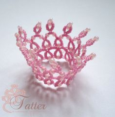 Tatting Pattern PDF Doll Crowns Plastic Canvas Tissue Boxes, Plastic Canvas Patterns, Tatting Tutorial, Tutorial Crochet, Pink Crown, Monster High Custom, Crochet Bookmarks, Tatting Patterns, Polymer Clay Charms
