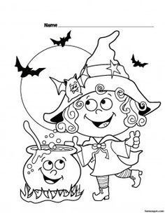 Halloween Witch Printable coloring pages for kids - Printable Coloring Pages For Kids