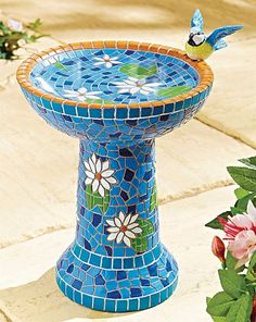 Beautifully ornate mosaic bird bath developed with classic art inspiration. Made from durable polyresin. This mosaic birdbath is a beautifully ornate place for your feathered garden visitors to enjoy a peaceful bathe or drink, and a new blue option has be Mosaic Birdbath, Mosaic Garden Art, Mosaic Tile Art, Mosaic Flower Pots, Mosaic Pots, Mosaic Birds, Mosaic Crafts, Mosaic Projects, Mosaic Glass
