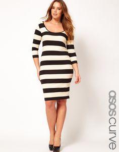 ASOS CURVE Exclusive Midi Bodycon Dress In Wide Stripe  $40.78