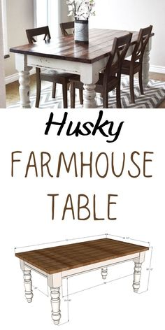 Free plans to DIY a farmhouse table with store bought table legs. Plans from Ana-White.com. #anawhite #anawhiteplans #diy #diyfurniture #farmhousetable