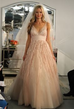 Shell Pink Wedding Gown With Off White Veil So Pretty