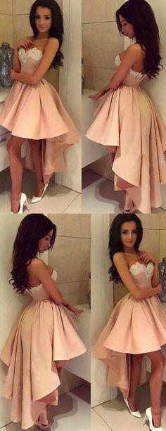Prom Dresses A-Line, Homecoming Dresses Backless, Prom Dresses Short, Homecoming Dresses Pink Prom Dresses 2019 High Low Prom Dresses, Lace Homecoming Dresses, Backless Prom Dresses, Black Prom Dresses, Dresses Short, Prom Party Dresses, Dance Dresses, Pretty Dresses, Dress Prom