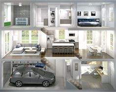 2 Bedroom & Den Rowhomes Cross Section View