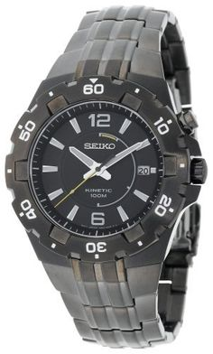 Seiko Men's SKA447 Sport Kinetic Black Ion Finish See-Thru Case back Watch Seiko. $297.00. Environmentally safe (No Suggestions) hands and markers, stainless steel black ion case and band, black dial. Double locking 3-fold clasp with push button release, see thru screw down case-back. Water resistant depth 100m. Men's kinetic ,  powered by the movement of your wrist , 3 hands. One way rotating bezel hurdle crystal. Save 40%!