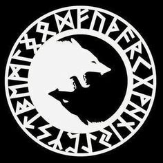 alphabet (futhark) rune circle with two wolves. i like the rune circle, but need something else ion the inside... or maybe make an oroboros with futhark alphabet on it... idk