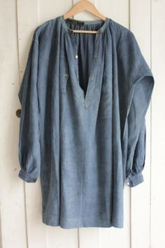 Antique French Work shirt blouse Indigo blue dyed farmer country clothing old