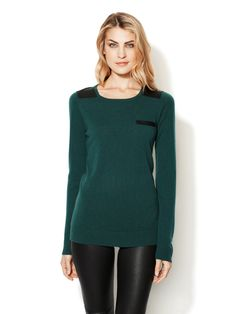 FALL TRENDS: BOLD LEATHER - Cashmere Sweater with Leather Combo (Wythe NY)