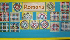 roman art projects for children School Displays, Classroom Displays, Teaching Displays, Maths Display, Romans For Kids, Romans Ks2, Mosaics For Kids, Mosaic Art Projects, Mosaic Ideas