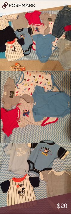 3-6 month baby boy clothing lot All in GUC. Some have never even been worn.  All have been washed in dreft.  2 superhero sleepers. 1 best friends layette. 1 pair of blue jean overalls.  2 Long sleeve onesies. 1 pair of Gymboree sweat pants.  1 T shirt   8 ss onesies Other