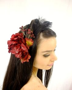 Large Red Flower and Feather Headband Red by RuthNoreDesigns
