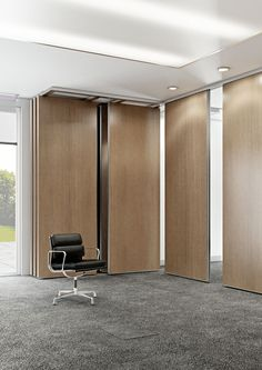 Rolling Wall - movable partition certified of insonorisation - Single truck or double truck. Rolling Wall is the movable partition Arcadia. Modern Office Design, Office Interior Design, Office Interiors, Movable Partition, Movable Walls, Moving Walls, Sliding Wall, Living Room Sofa Design, Furniture Layout