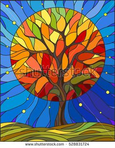 Illustration in stained glass style with autumn tree on sky background with the stars