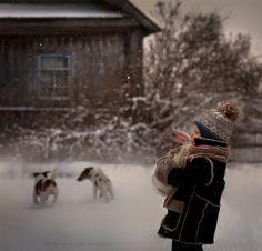 Elena Shumilova's magical, wintry photography: Bunny and boy in the snow