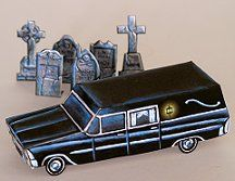 Mini hearse and headstones papercraft  . Full print out available at website .