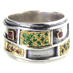 Evangelatos Geologic Band Ring, 18k Gold, Sterling Silver and Rubies, Emeralds or Sapphires. Athena's Treasures: http://www.athenas-treasures.com/