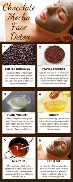 Chocolate Mocha Face Detox - Kesha JanaanThis is one of my favorite face masks. The coarser ground coffee you use, the more similar it is to an exfoliation. The coffee helps to exfoliate the skin Face Scrub Homemade, Homemade Face Masks, Homemade Skin Care, Diy Face Mask, Face Detox, Dark Eye Circles, Coffee Face Mask, Coffee Face Scrub, Honey Face Mask