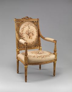 Armchair (Fauteuil) Date: 18th century Culture: French Medium: Carved and gilded beechwood