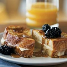 Mascarpone-Stuffed French Toast w/ Blackberries.  LOOKS DELICIOUS BUT NOTHING COMPARED TO MY STRAWBERRY SHORTCAKE /MASCARPONE STUFFED FRENCH TOAST FROM GREEN EGGS CAFE, PHILLY IS THE BEST PLACE FOR FOOD!