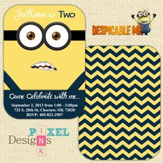 Lil Minion Despicable Me Birthday Invitation by LittleDoodlePrints, $10.00