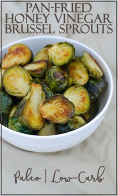 you looking for a delicious side dish recipe? These pan-fried honey vinegar Brussels sprouts are the PERFECT side dish! They are sweet, salty and healthy! Paleo Side Dishes, Vegetable Side Dishes, Side Dish Recipes, Vegetable Recipes, Food Dishes, Vegetarian Recipes, Dishes Recipes, Keto Recipes, Recipes