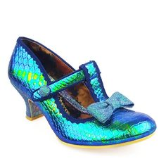 Bedazzle on the dance floor with Lazy River! These iridescent mermaid blue green mid heeled stunners featuring t-bar straps and pretty glitter bow trims are the perfect party pair.