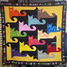 Cat Quilt Patterns | Taniwa: Tessellating Cats finished (sort of) And this is what my cat quilt should  look like when finished.