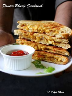 Paneer Bhurji Sandwich - Make a delicious #sandwich for #breakfast with cottage cheese filling!