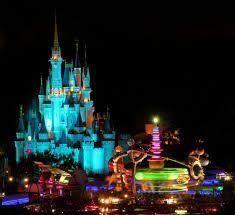 A glow up of Disney castle.Beautiful