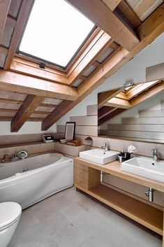 Interiors of the Bathroom in the Attic by adpephoto. interior view of a modern bathroom in the attic room in foreground the countertop washbasin House, Home, Bathroom Sink Vanity, Building A House, Attic Bathroom, Bathroom Remodel Pictures, Modern Bathroom, Bathroom, Bathroom Design