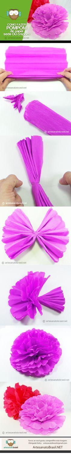 Como fazer pompom de papel crepom ou seda - Artesanato Brasil                                                                                                                                                                                 Mais