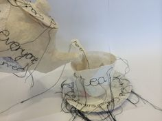 Kirsty Whitehead - Book 2 'Pour The Tea' Theme: Etiquette Inspiration: Priscilla… Stitching On Paper, Cake Drawing, A Level Art, Time Art, Etiquette, Paper Mache, Tea Time, Tea Cups, Recycling
