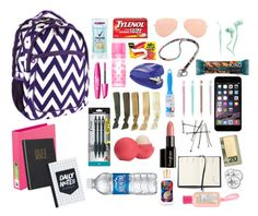 What's in my backpack by lizardbeth95 on Polyvore featuring polyvore, fashion, style, Ray-Ban, In God We Trust, Merkury Innovations, Vera Bradley, Gorgeous Cosmetics, Victoria's Secret PINK, Eos, Degree, Pilot, Up & Up, Forever 21 and Swingline