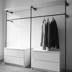 Open Wardrobe Clothes Rail Wardrobe Industrial Design Industrial Design Malleable Iron Tube Steel Pipe DIY Furniture Furniture Making Do it yourself W . Diy Wardrobe, Wardrobe Storage, Walk In Wardrobe, Bedroom Storage, Wardrobe Ideas, Bedroom Decor, Wardrobe Clothing, Bedroom Wardrobe, Bedroom Ideas