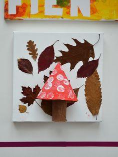 knutselen kleuter, thema herfst, gedroogde blaadjes, paddestoel schilderen
