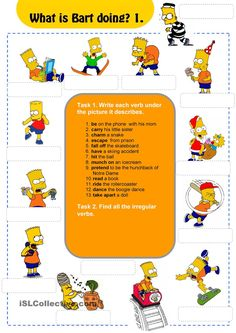 What Is Bart Doing?  | FREE ESL  worksheets