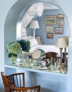 What a brilliant way to create a vanity! Mirror the nook, put up a shelf, and voila. There you have it.