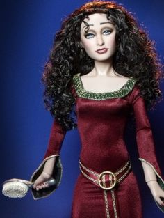 About Tangled Mother Gothel: Originally a Harry Potter Bellatrix, I resculpted and repainted this doll as Mother Gothel from the Disney movie Tangled (Flutterwing Dolls by Shannon Craven www.flutterwing.com)