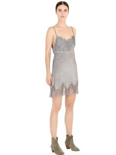 MARBLED SILK CREPE DRESS WITH LACE