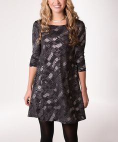 Black & Silver Snake Abstract Swing Dress