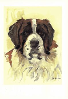 SAINT BERNARD Dog Print Puppy Print Art Print Home by TheWholeBook, $15.00